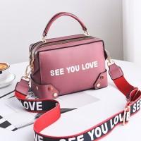 B1180-pink Tas Selempang SEE YOU LOVE Import Wanita