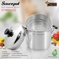 Panci Sauce Pot With Steamer 22cm Stainless Steel Golden FF STMR0222