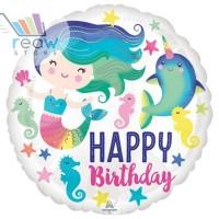 Balon Foil Bulat Happy Birthday Putri Duyung Mermaid