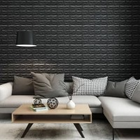 Wallpaper 3D Modern Foam Batu Bata Ukuran 70 X 77 Wall Sticker Hitam