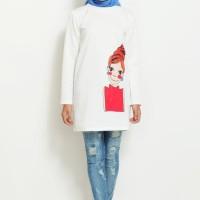 Termurah Atasan Pakaian Baju Wanita Dress Tunik Scuba Printing L