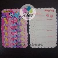 Kartu undangan ulang tahun little pony / kartu undangan kuda pony
