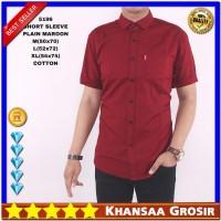 Harga baju kemeja pria maroon lengan pendek polos kerah formal katun | Pembandingharga.com