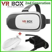 TURUN HARGA VR BOX 3D Glasses Versi 2 Slide in Ponsel Free Blueto