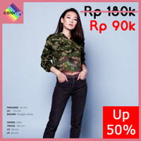 Army Hoodie Crop Top - fashion baju atasan wanita (COLOR.IN)