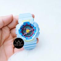 Jam Tangan Wanita Cewek BabyG BA110 sporty Rubber Strap Biru