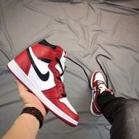 Jual Nike Air Jordan Retro 1 Premium Original / Red White / Sneakers Murah