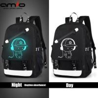 Tas Ransel Backpack   Casual Luminous Anti Maling   Usb charger