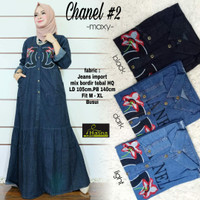 Chanel maxy. Dress gamis jeans cantik