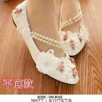 Sepatu wanita flatshoes DM ROSE putih