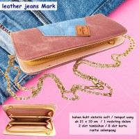 Dompet Kartu Leather jeans Mark peach