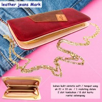 Dompet Kartu Leather jeans Mark marun