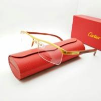 kacamata minus/normal/plus cartier half titanium tangki kayu asli