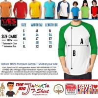 Hot Promo Kaosyes Kaos Polos T-Shirt Raglan Lengan 3/4 - Putih Biru, S