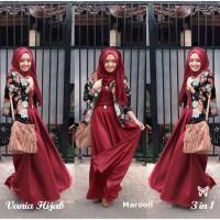 Baju Gamis Syari HOPYLOVY - VANIA FLOWER HIJAB SET Dress Pesta