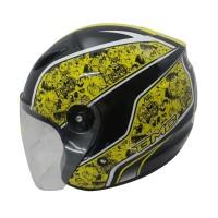 Helm FBO BMC Milan Doraemon Graffiti Helm Half Face Yellow Fluo SH707