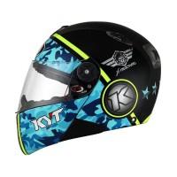 Helm Full Face KYT X Rocket Retro 3 BlackBlue YellowFluo Size M SH705