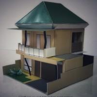 Papercraft Bangunan Rumah Mewah 2 Lantai Tipe 2