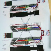Pola Papercraft Bus Tingkat Sinar Jaya