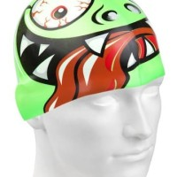 Topi Renang Anak Silicone Mad Wave Green Face