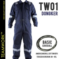 TW01 TeamWork Coverall Overall Jumpsuit Kerja Safety Wearpack Dongker
