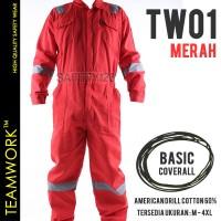 TW01 TeamWork Coverall Kerja Safety Wearpack Wearpak Terusan Merah