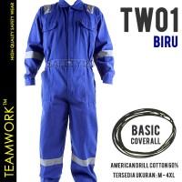 TW01 TeamWork Coverall Kerja Safety Wearpack Jumpsuit Bengkel Biru