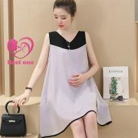 Dress Casual Longgar Tanpa Lengan Bahan Sifon untuk Ibu Hamil