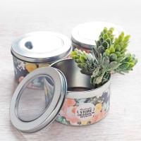 Souvenir 100 Pcs Kaleng Tin Can Silver Mica Round