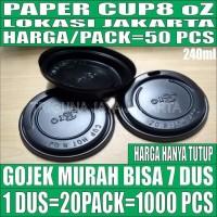 Tutup Paper Cup 8oz Pack 50pcs Hny Lid Gelas Kertas Kopi 240ml Jakarta
