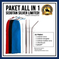 Paket All In 1 Reusable Stainless Steel Straw / Sedotan Metal Bubble