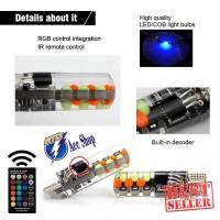 Led T10 Cob RGB Lampu senja Mobil & Motor 2 pcs Remote