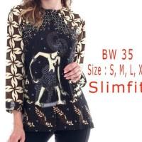 Laku !!! Blouse Kemeja Batik Wanita Slim Fit / Batik Slimfit Bw14 /