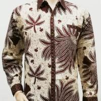 Kemeja Hem Baju Seragam Pria Batik Lengan Panjang 2296 Krem BIG SIZE