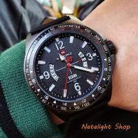 Jam Tangan Pria Naviforce N9103 Original Sporty Kulit Hitam List Putih