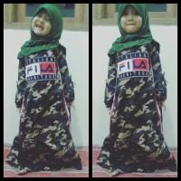 Baju gamis muslim army loreng fila anak cewe terbaru katun streact