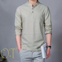 New Produk Koko Hamish Grey Ot Baju Koko Pria Katun Twill Lengan