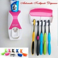 DISPENSER ODOL Toothpaste Dispenser & Brush Set WHITE Pasta Gigi4