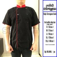 Baju Seragam Koki / Chef // Lengan Pendek // Hitam-Merah