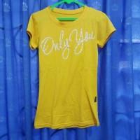 Baju Kaus Kaos Atasan Wanita Kuning Yellow Tulisan Timbul Katun Cotton