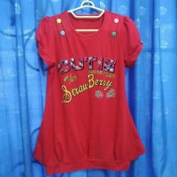 Baju Kaus Kaos Atasan Wanita Merah Red Kancing Katun Cotton