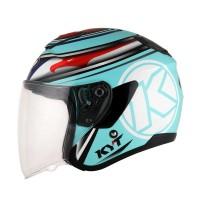 Helm KYT Kyoto 03 Helm Half Face Aqua Blue Ukuran M dan L SH708