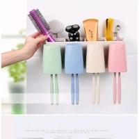 DO-4G Set dispenser odol tempat sikat gigi dan 4 gelas kumur
