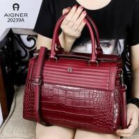 tas wanita ngetren AIGNER Vintage Valois Shoulder Bag Croco Vs Leather