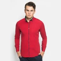 Alisan Kemeja Lengan Panjang Polos Spesial Merah PLS1235957LS