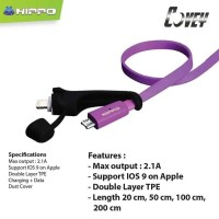 Hippo Covey 2in1 100CM Kabel Charger Micro Samsung Xiaomi - FD002