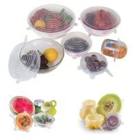 LID Penutup Makanan Buah Kaleng Silikon 6 In 1 Stretch Bowl Cover Lid