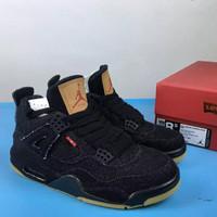 Jual Nike AJ4 Levis Bayangan RETRO TINGGI sepatu basket pria jeans sneakers Murah