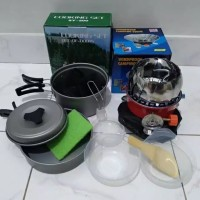 paket kompor windproof merk kovar plus cooking set 200