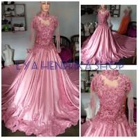 Harga baju pengantin pink muda ekor   antitipu.com